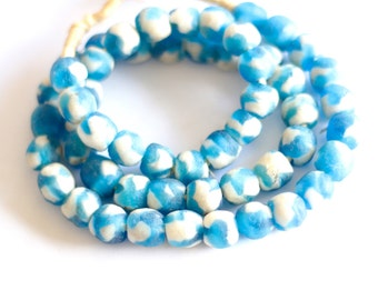 Blue marbled African glass, Ghanaian bead, Krobo beads, Recycled glass, Spotted African beads, Powder glass, Tribal jewelry supply