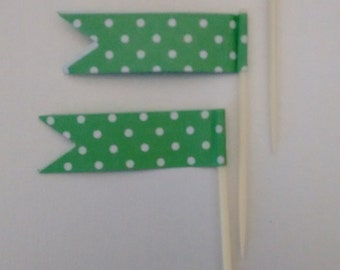Green Polka Dot Cupcake Toothpick Flags.  Cupcake Decorations.  Flag Toothpicks. Cupcake Toppers