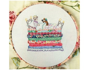 Princess and the Pea hand embroidery pdf pattern download