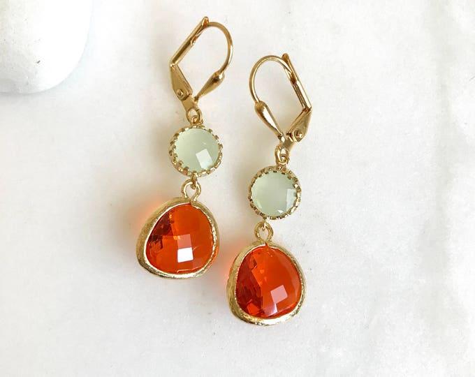 Earrings Orange and Mint Earrings. Dangle Earrings. Orange Drop Earrings. Bridesmaids Earrings. Jewelry Gift.
