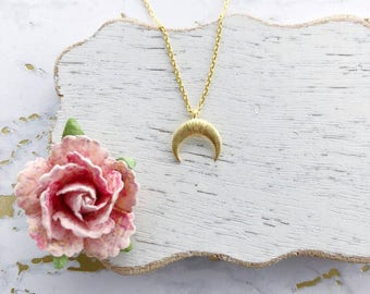Gold Crescent Moon Dainty Necklace