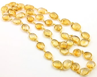 Citrine Oval Shape Bezel Chain, Citrine Oval Shape Connector linked sold in Sterling Silver w/ Vermeil Finish,(GMC-BZ-CIT)
