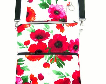 Small crossbody purse. IPhone purse. Shoulder purse. Poppy fabric purse. Organizer crossbody purse. Red floral purse. Small shoulder purse