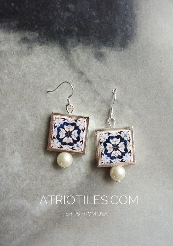 Portugal Tile Earrings Atrio Antique Azulejo Tile 925 SILVER FRAMED Earrings, AvEIRO Blue and Sao Miguel Ponta Delgada 544 Gift Boxed