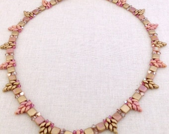 Pink Stars Are Falling Necklace Pattern Beading Tutorial Super Duo Pattern Czech Tile Beads Crystals Easy Bead Pattern Beginner Tutorial