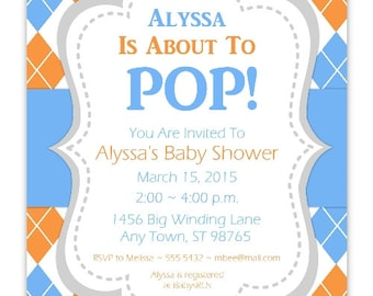 Argyle Baby Shower Invitation, About to Pop Invitation, CUSTOM 4x6 or 5x7 size - YOU PRINT - argyle baby shower invite, blue and orange