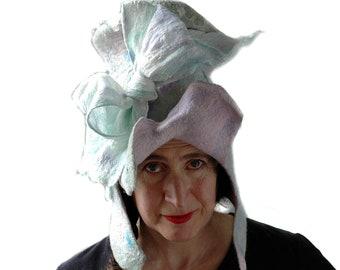 Böhmische blass Mint Grün Zylinder mit übergroßen Bogen romantische Meerjungfrauen gefilzt Hut mit Ohrenklappen Einhorn Candy Farbe