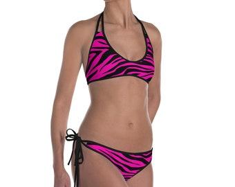 Vivid Pink Zebra Bikini
