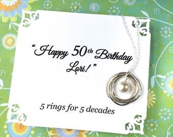 50e collier d'anniversaire pour femme, cadeau d'anniversaire 50e pour les femmes, 5e anniversaire cadeau pour elle, cadeau d'anniversaire, soeur collier, cadeau pour maman