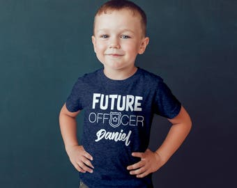 Future Officer Kids Shirt Custom Name (Included Free) Personalized Infant Toddler Baby Youth Boys Girls