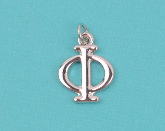 "4 PHI Letter Silver Plated Charms, Greek Letter . Sorority Sister .  Silver Plated Pendant, 3/4"" tall, includes jump ring, chs2202"