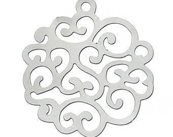 Set of 10 prints charm filigree silver 29x26mm steel SC59517