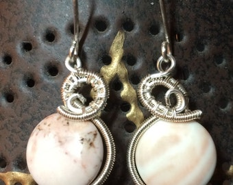 NEW!!  Pink opal silver wire wrapped earrings