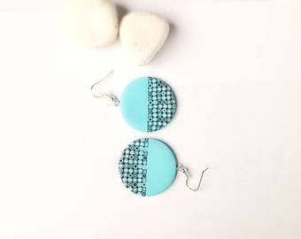 Polymer  Clay Earrings , Gift for her , Everyday earrings , Modern earrings , Ombre earrins , Mint earrings , Round earrings