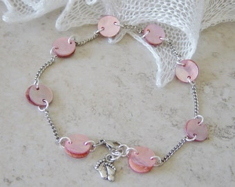 Ankle Bracelet - Pink Shell Bead Anklet - Pink Ankle Bracelet - Beaded Silver Chain Anklet - Bare Feet Silver Charm Anklet - Beach Anklet