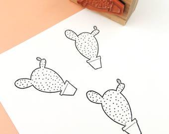 Rubber Stamp, Laser Engraved Stamp, Cactus Stamp, Prickly Pear Stamp, Hand Drawn Stamp, Craft Stamp, Stamp for Card Making, Pattern Stamp