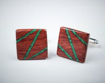 Wooden cufflinks, bubinga wood cufflinks for men, malachite inlay, designer classic cufflinks, cufflinks shirts, gift fot men