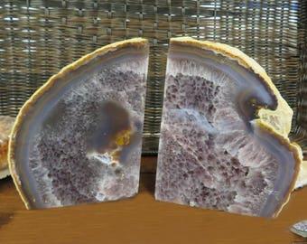 Amethyst bookend - Half Geode Druzy Bookend Rock Formation - Book End (BD4-01)