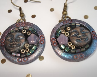 """""""Cabinet of curiosities"""" Ode to the Moon, polymer clay earrings, Bohemian spirit, folk"""