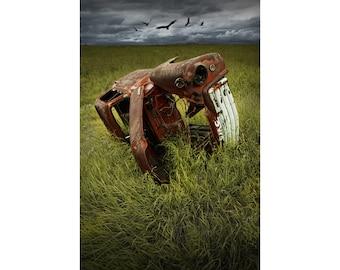 Vulture Buzzards circling over a GMC Auto Body Wreck Carcass on the Prairie No.00037 A Fine Art Surreal Fantasy Landscape Photograph