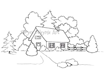 Hand Drawn Coloring Page, Coloring for Adults, Small House or Cottage with Trees, jpg, png files included, Commercial Use,INSTANT DOWNLOAD