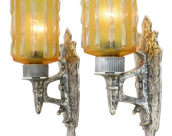 Pair of Hammered Pewter Arts and Crafts Sconces (ANT-908)