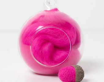 Merino Felting Wool- Wool Roving-Wool Tops -Colour Pink 03 -10grams
