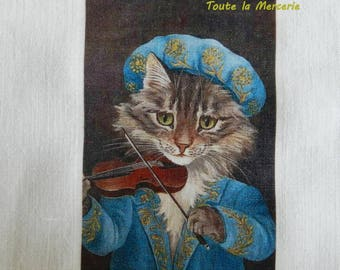 transfer 150.   textile transfer: ORIGINAL cat playing violin