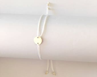 Thin thread of White Jade, silver sequin bracelet