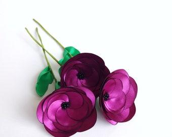 3 Plum Purple Fabric Flowers on Stems, Bouquet, Silk Floral Decor