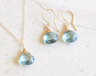 Aquamarine Earrings and Necklace Set,Aquamarine Necklace,Aquamarine Earrings,Sterling Silver,Gifts For Her, March Birthstone