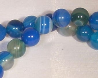 Set of 5 agate blue 8mm round beads