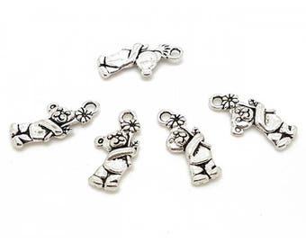 20 matte bear with a Silver Flower charms