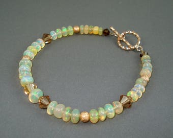 Opal Bracelet, Ethiopian Fire Opals, Crystal Accent Beads, Rose Gold Beads and Clasp Fire Opal Bracelet, Fire Opal Jewelry