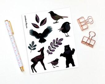 Decorative planner stickers - 11 woodland animal stickers, bullet journal stickers, plannet stickers, animal stickers, forest stickers