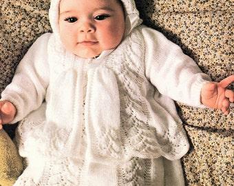 Baby Layette, Dress, Jacket Bonnet, Knitting Pattern. PDF instant Download.