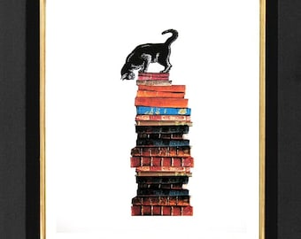"""Cat Art Lovers-""""Too Many Books Not Enough Time"""",Mixed Media,Archival Print, 8x10 Decorative art, drawing, illustration,POSTER A4"""