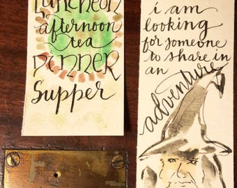 Set of two bookmarks LOTR lord of the rings Gandalf hobbit meals second breakfast afternoon tea Handpainted hand-lettered watercolor