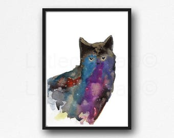 Cat Print Colorful Black Cat Watercolor Painting Art Print Cat Decor Black Cat Wall Art Cat Lover Gift Wall Decor Unframed