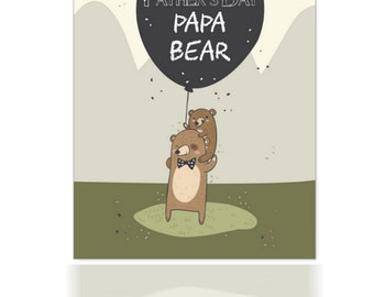 Father's Day, Dad Papa Bear Father's Day Card, Can Be cusomized, Father's day baby bear and papa bear card