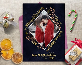 Gold Christmas Card, Family Photo Card, Christmas Photo Card Printable, Xmas Photo Card, Holiday Card, Printable Photo Card