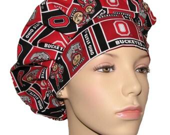 Scrub Hats For Women-Ohio State University Block Fabric-Scrub Hat-Scrub Caps-ScrubHeads-Ohio State Scrub Hat-Buckeyes Scrub Hat