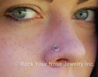 Peace Dove Nose Stud / Bird Nose Ring / Animal Nose Stud / Unique Nose Jewelry / Rock Your Nose- CUSTOMIZE