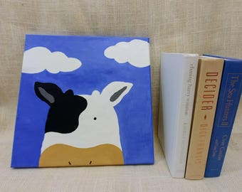 Cloud Cow Baby Kids Room Canvas Original Acrylic Painting 12×12