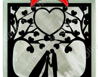 Heart Trees with Bride & Groom SVG Digital Cutting File