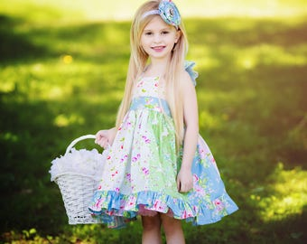 Girls Easter Dress - Girl Spring Dress - Flutter Sleeve Ruffle Dress - Cherry Dress - Floral Roses Dress - Birthday Party Dress - Pictures