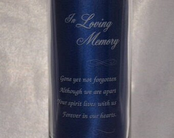 Custom Personalized Memorial Glass Candle Holder, Engraved Celebration of Life Vase, Nine Different Verses - Three sizes available (#12)