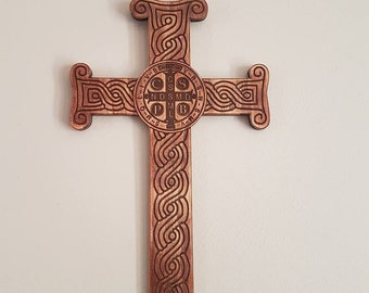wooden Wall crosses with Croatian Pleter and St Benedict center
