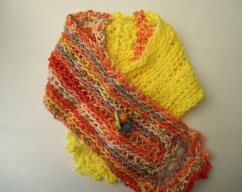 Neck Warmer, Knit Scarf, Yellow or Purple