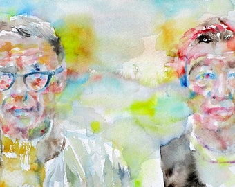 SARTRE & SIMONE de BEAUVOIR - original watercolor portrait - one of a kind!